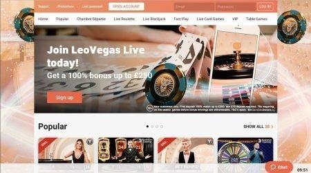 Leo Vegas Live casino welcome bonus