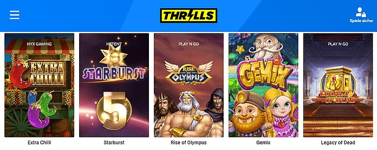Thrills Casino Spiele