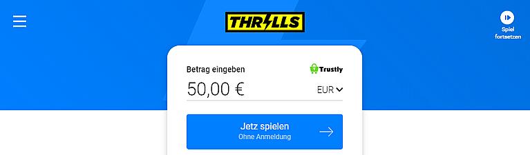 Thrills Casino Zahlung mit Trustly
