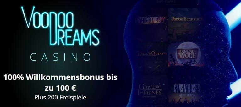 VoodooDreams Casino Bonus für Neukunden: 100% bis zu 100 Euro