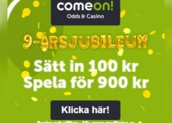 Gigantisk födelsedag på ComeOn – 800% bonus!