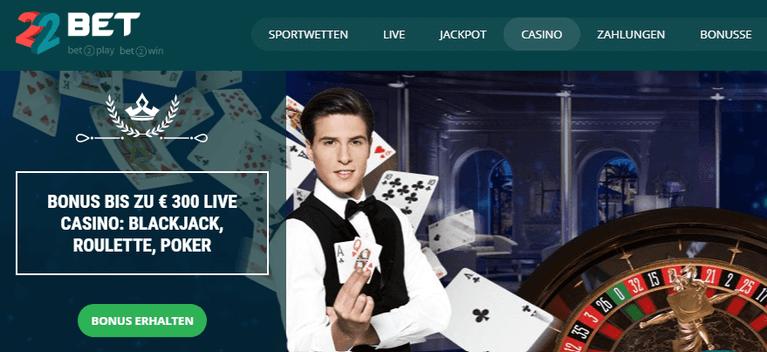 22Bet Casino Live Casino Bonus
