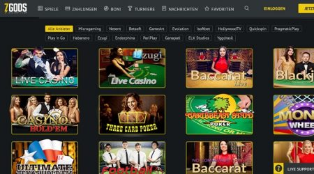 Live Casino page at 7Gods