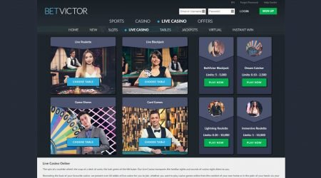 Betvictor Live Casino homepage