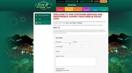 Vegas Luck customer support