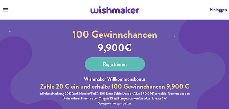 Wishmaker Casino Bonus für Neukunden