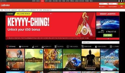 Casino games offering at Ladbrokes online casino