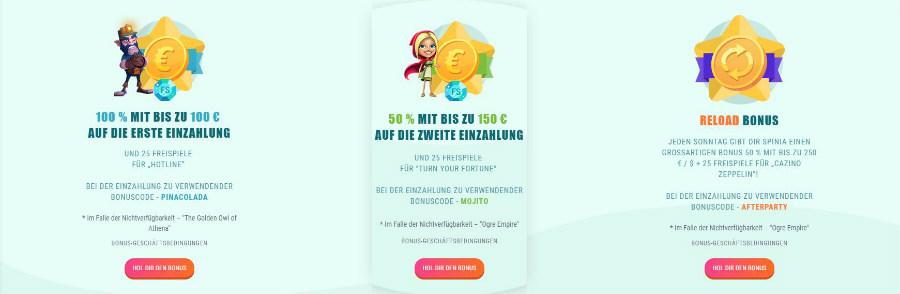 spinia bonus offers 900