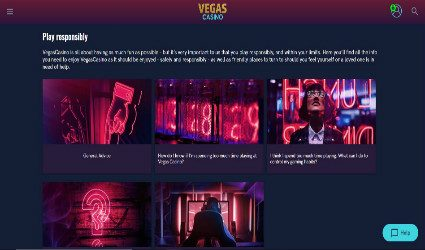 Vegas Casino Responsible Gaming page