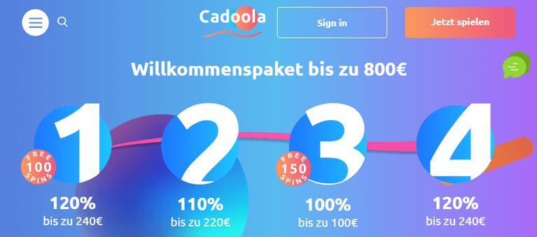 Cadoola Casino Willkommensbonus