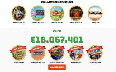 Spieleautomaten bei Calzone Casino und der aktuelle Jackpot