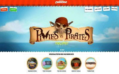 Startseite des Calzone Online Casinos