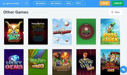 Game selection at Casilando Casino