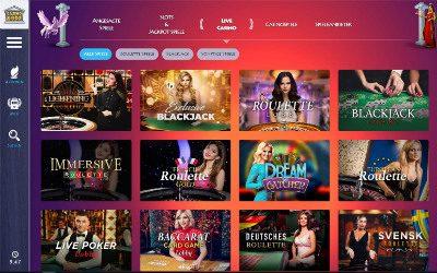 Live Casino Spiele Übersicht im Casino Gods