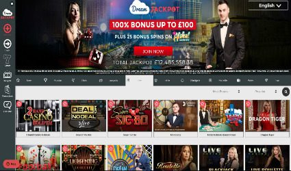 Dream Jackpot's Live Casino Selection