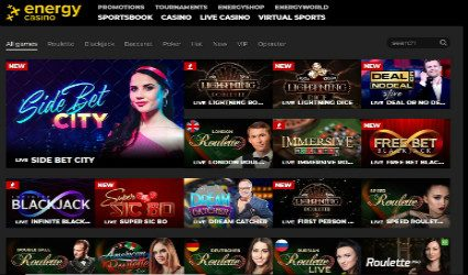 Energy Live Casino tables