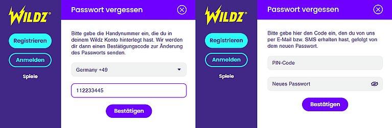 Wildz Passwort vergessen