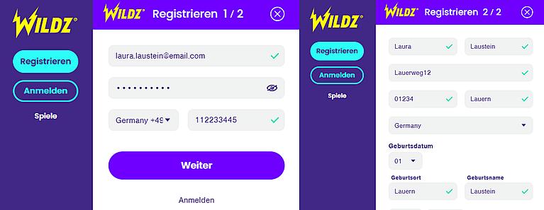 Wildz Registrierung Konto