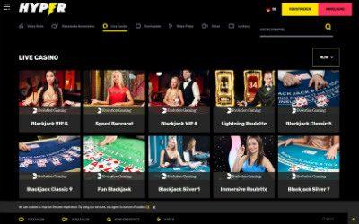 Hyper Casino Live Casino Übersicht der Spiele