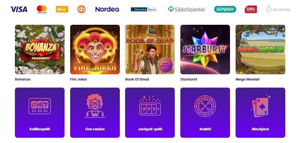 Wildz Casino pelit ja maksut