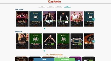Cashmio Live Casino page