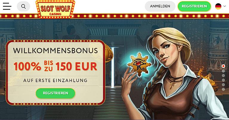 SlotWolf Casino Bonus Code für Neukunden
