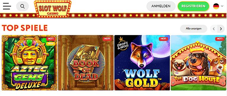 Slotwolf Casino Spiele und Slots
