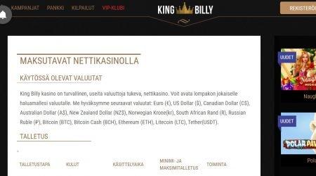 King Billy maksutavat