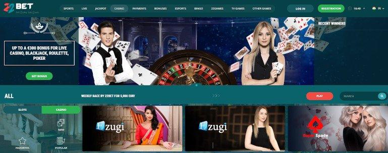 22bet India Casino Homepage Screenshot