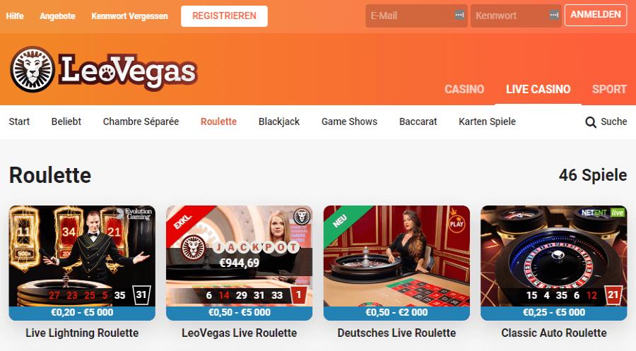 LeoVegas Live Casino Roulette
