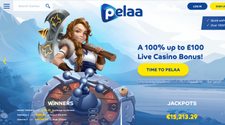 Pelaa Casino homepage with bonuses
