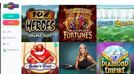 Spinia Casino India Game Selection