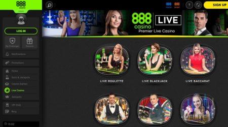 888 Casino live dealer games.