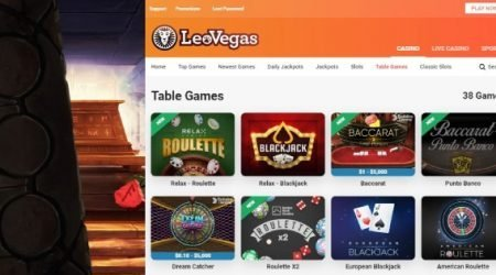 LeoVegas casino live table games.