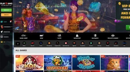PlayAmo casino games section.