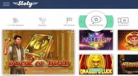 Sloty Casino online games.