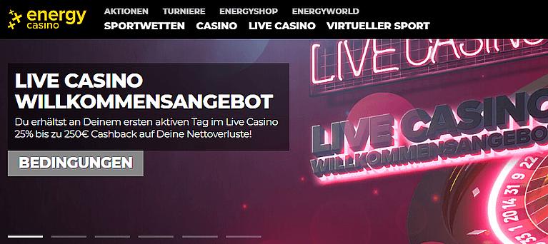 EnergyCasino Live Casino Bonus