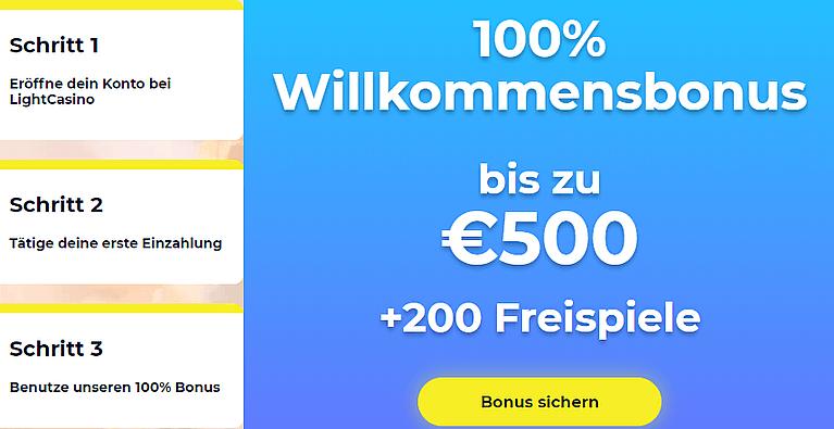 LightCasino Bonus für Neukunden