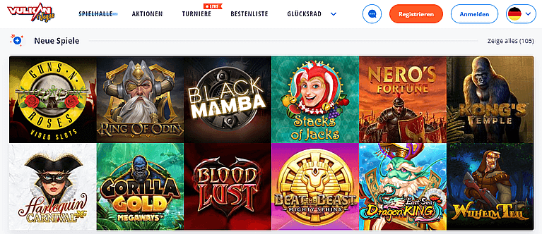 VulkanVegas Casino Spiele