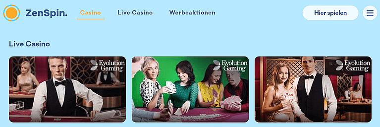 ZenSpin Live Casino Spiele