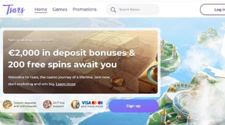 Tsars Online Casino homepage
