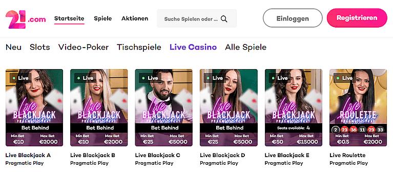 21.com Casino Live Casino