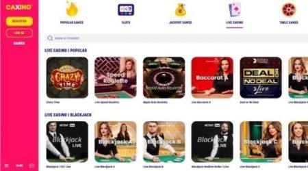 Caxino casino popular live games.
