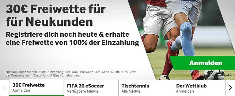 Betway Freiwette Sportwetten Bonus