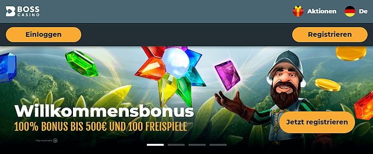 Boss Casino Bonus für Neukunden