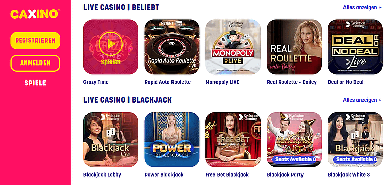 Caxino Casino Live Casino
