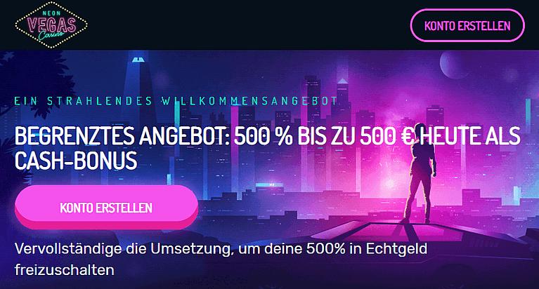 NeonVegas Casino Bonus für Neukunden