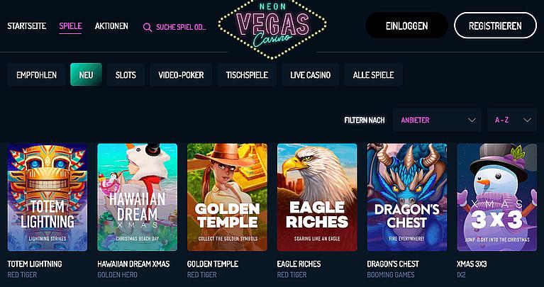 Neon Vegas Casino Test 2021 - 500 % Bonus!