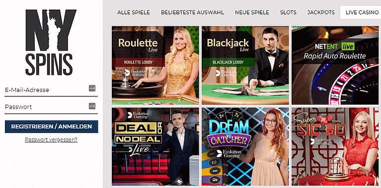 NYspins Casino Live Casino