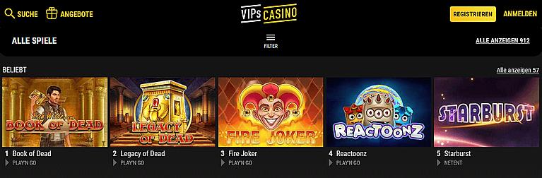 Vips Casino Spiele